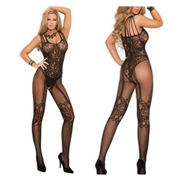 0ce520b4186 Sexy Strappy Black Sheer Lace Body Stocking